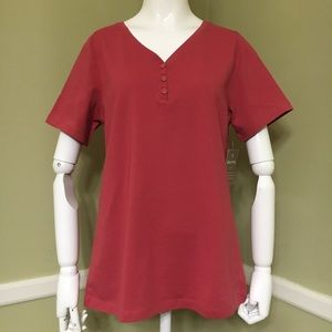 White Stag Y Neck Henley Short Sleeve Shirt, sz S